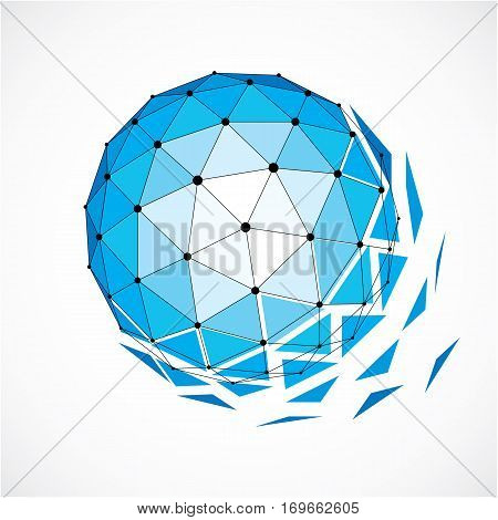 Abstract 3D Faceted Figure With Connected Black Lines And Dots. Blue Vector Low Poly Design Element,
