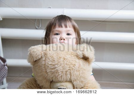 toddler hugging teddy bear indoor in her room devotion conceptlittle child hiding behind the toy
