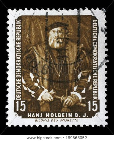 ZAGREB, CROATIA - SEPTEMBER 06: A stamp printed in DDR shows the painting Portrait of Morette, by Hans Holbein, from the series Famous Paintings from Dresden Gallery, circa 1957, on September 06, 2014