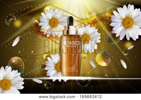 Oil Essence Hydrating Concentrate Bottle Template for Ads or Magazine Background. 3D Realistic Vector Iillustration. EPS10