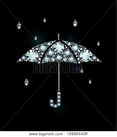 Umbrella and Rain Drops Made of Diamonds