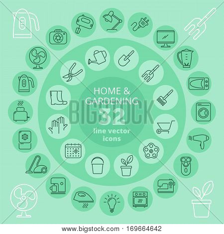 Household appliances and gardening icon set. Kitchen equipment domestic appliances and garden tools vector line icons. Isolated infographic elements for web print presentations and social network.
