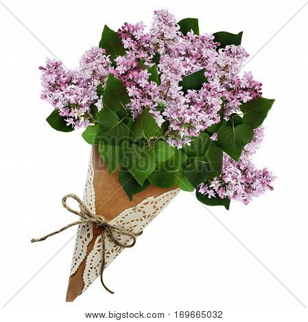 Lilac flowers bouquet in a craft paper cornet isolated on white