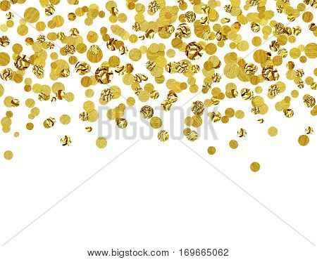 Background with scattered gold confetti isolated on white