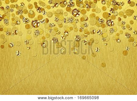 Background with scattered gold confetti on brushed backround