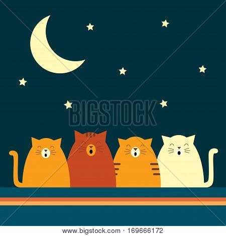 Vector retro styled illustration of four cats singing under the moon. Square format. Dark background.