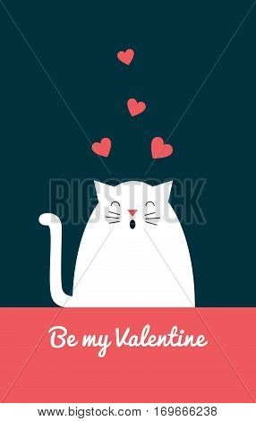 Vector retro styled illustration of a white cat singing love song. Text
