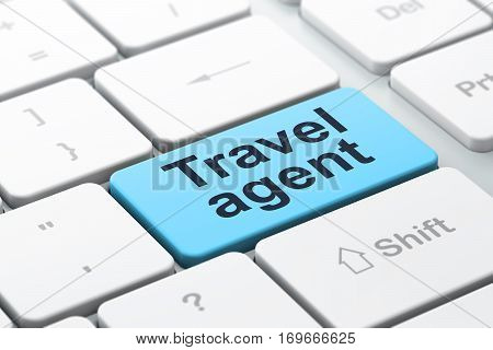 Vacation concept: computer keyboard with word Travel Agent, selected focus on enter button background, 3D rendering