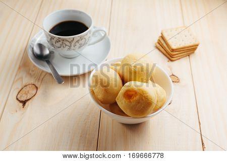 Cheese Bread And Coffee. Brazilian Tradicional Snack