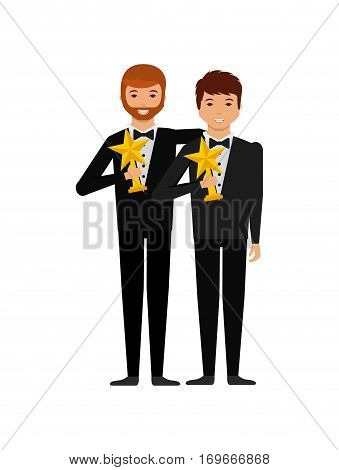 group of actors with star trophies over white background. colorful design. actors awards concept. vector illustration