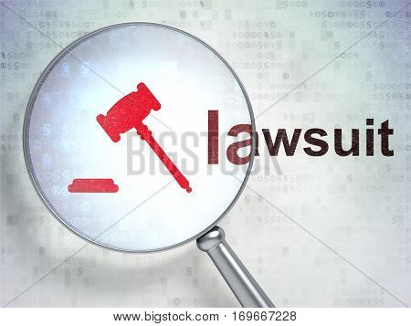 Law concept: magnifying optical glass with Gavel icon and Lawsuit word on digital background, 3D rendering