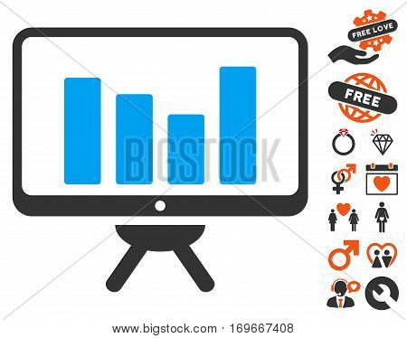 Bar Chart Monitoring Board pictograph with bonus marriage design elements. Vector illustration style is flat iconic symbols for web design app user interfaces.