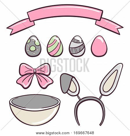 Set for Easter day. Hand drawn elements isolated on white background. Can be used for greeting card design. Vector illustration