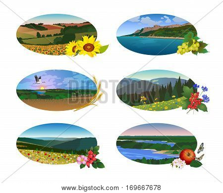 Natural landscape in the form of an oval on a white background