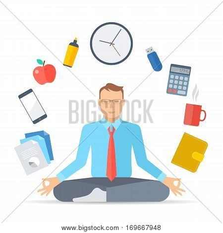 Flat vector concept illustration meditation. Manager meditates at work in the lotus pose. Businessman sitting in the meditation surrounded with office tools. Infographic elements for web presentation