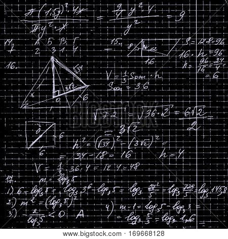 mathematical background. Imitation of a shcool blackboard, pupil's notebook. vector element of design