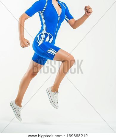 running man electric sports suit on a white background