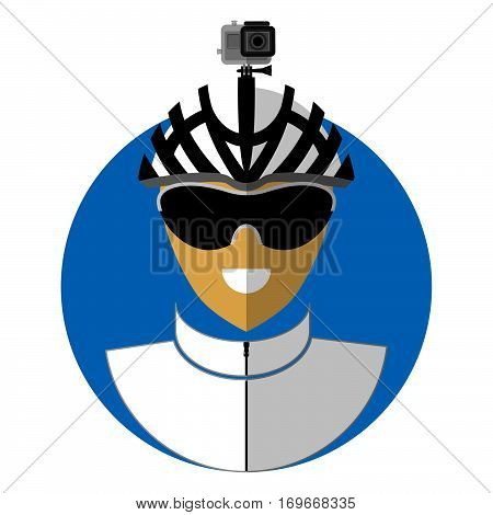 Flat icon of the bicyclist shooting on action camera. Symbol of an active type of rest.