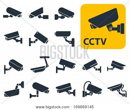 CCTV security camera vector icons set, video surveillance