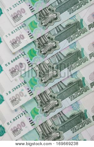 Background From Banknotes - Russian Ruble Denomination One Thousand Rubles