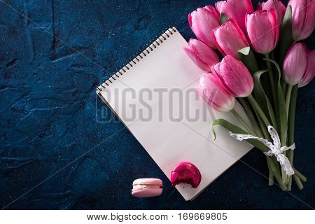 Fresh Pink Tulip Flowers Bouquet . View With Copy Space Spring Holiday Concept