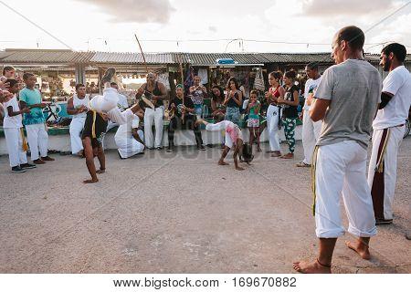 Cabedelo, Paraiba, Brazil - February 5, 2017 - A Capoeira Demonstration At The Jacare Beach, Near Jo
