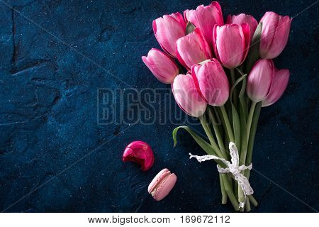 Fresh Pink Tulip Flowers Bouquet With Macaroons . View With Copy Space