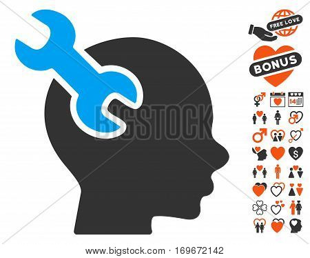 Brain Service Wrench icon with bonus passion design elements. Vector illustration style is flat iconic symbols for web design app user interfaces.
