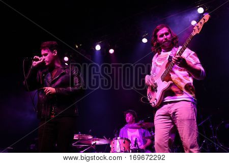 HUNTINGTON, NY-DEC 1: (L-R) Jack Weppler, Micah Cowher and Richie Cluxton of Sir Cadian Rhythm perform in concert at the Paramount on December 1, 2016 in Huntington, New York.