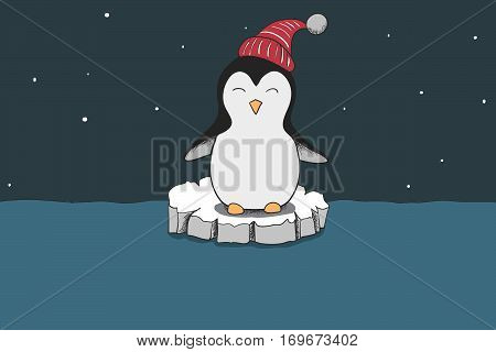 cute penguin dressed in red hat traveling on ice floe.Cartoon childish vector illustration.