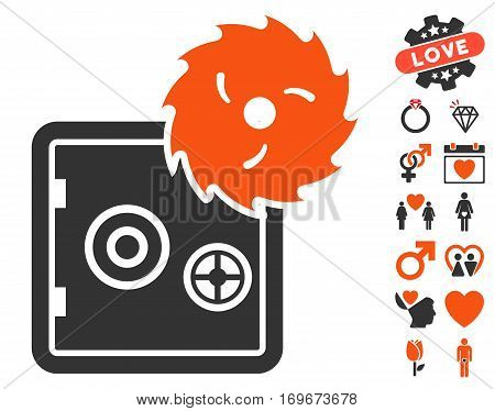 Break Banking Safe icon with bonus passion graphic icons. Vector illustration style is flat iconic elements for web design app user interfaces.