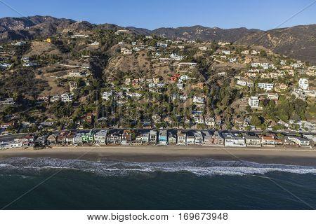 Beachfront and hillside homes in Malibu near Los Angeles in Southern California.