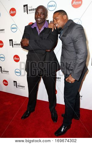 NEW YORK-MAY 19: Special Achievement Winners Winston Watts (R) and Marvin Dixon of the Jamaican Bobsled Team attend 18th Annual Webby Awards at Cipriani Wall Street on May 19, 2014 in New York City.
