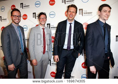NEW YORK-MAY 19: Comedian Pete Holmes (2nd L) attends the 18th Annual Webby Awards at Cipriani Wall Street on May 19, 2014 in New York City.