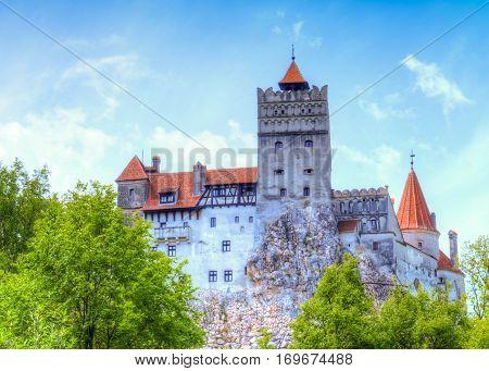 Bran castle in spring season, Dracula, Transylvania - Romania