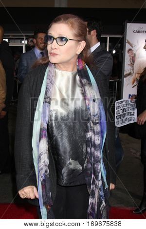 LOS ANGELES - NOV 3:  Carrie Fisher at the Dumb and Dumber To Premiere at the Village Theater on November 3, 2014 in Los Angeles, CA