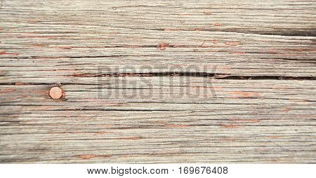 old vintage wooden background. rustic weathered planks with knots and nail