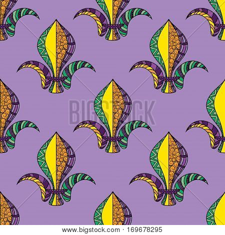 Mardi Gras or Shrove Tuesday seamless pattern. Colorful carnival background with fleur de lis. Vector illustration