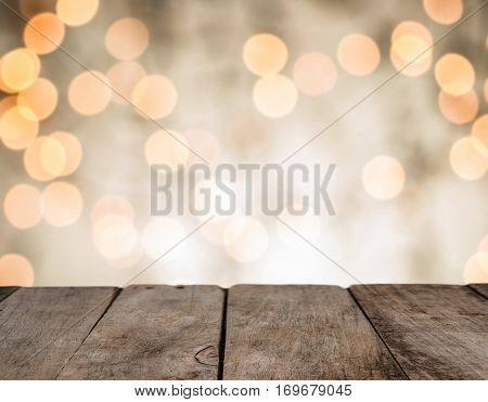 Wood Table Top On Shiny Bokeh Gold Background, Vintage Tone - Can Be Used For Display Or Montage You