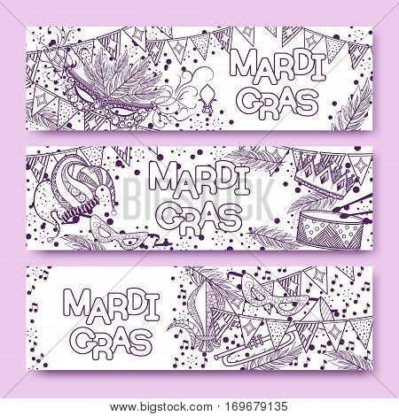Mardi Gras or Shrove Tuesday cards with violet and purple colors. Carnival mask and crowns, fleur de lis, feathers. Perfectly fit for banner, invitation, party. Vector illustration