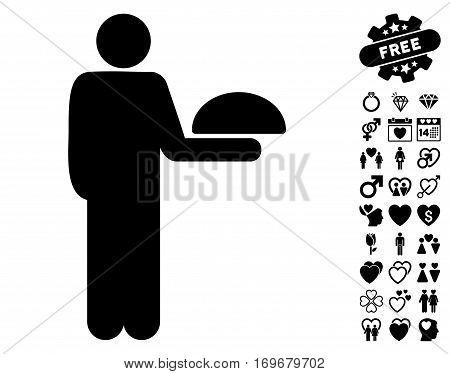 Standing Waiter pictograph with bonus lovely design elements. Vector illustration style is flat iconic black symbols on white background.