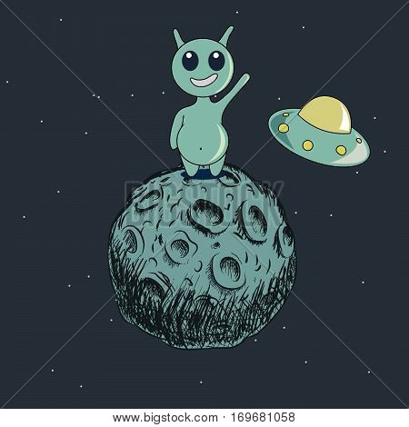 Cute alien stand on the moon and welcomes us.Childish cartoon design for kid t-shirts, dress or greeting cards.