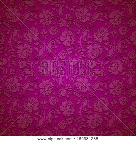 Elegant template with 3d lace paper ornament for page, web design. Filigree floral elements, ornate vintage background. Vector illustration EPS10