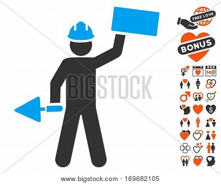 Builder With Brick icon with bonus decorative images. Vector illustration style is flat iconic elements for web design app user interfaces.