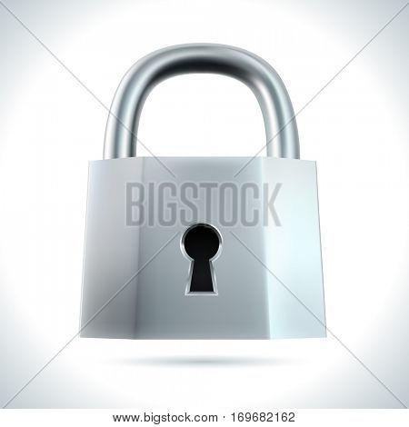 Metal padlock isolated on white background illustration. Raster copy.