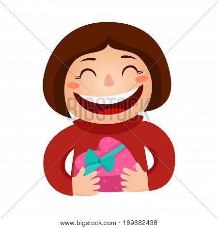 Vector illustration of a girl holding a gift in a wrapped heart-box isolated on white. Valentines days card.