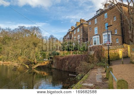 Luxury typical brick british houses with gardens in front of a lake with a fallen tree into the water.