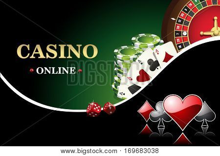 Vector casino poster. Includes roulette casino chips cards for poker. Design banner the website