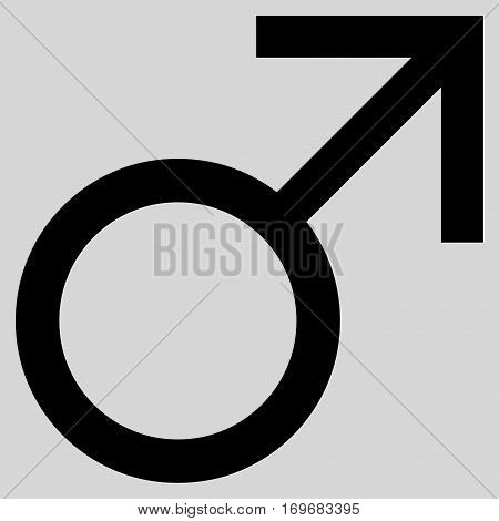 Mars Male Symbol flat icon. Vector black symbol. Pictograph is isolated on a light gray background. Trendy flat style illustration for web site design logo ads apps user interface.