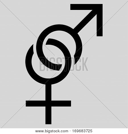 Sex Symbol flat icon. Vector black symbol. Pictograph is isolated on a light gray background. Trendy flat style illustration for web site design logo ads apps user interface.